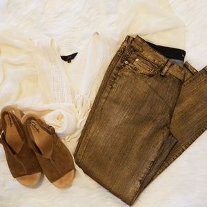 Michael Kors Skinny Gold Painted Jeans